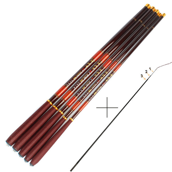Carbon Fiber Carp Fishing Rod With Front 3 Sections Hand Pole Ultra-light Ultrafine Fishing Pole 3.6 4.5 5.4 6.3 7.2M - Amariah's