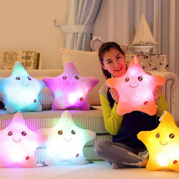 Colorful Star Glow LED Luminous Light  Cushion Cojines Lovely Soft Relax Almofada Smile Stars Flashing Cushions - Amariah's
