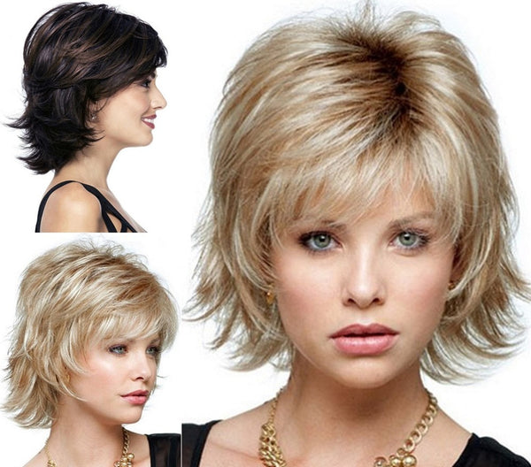 Fluffy short  wig blonde Synthetic Curly Short hair  Wig many colors for choose - Amariah's