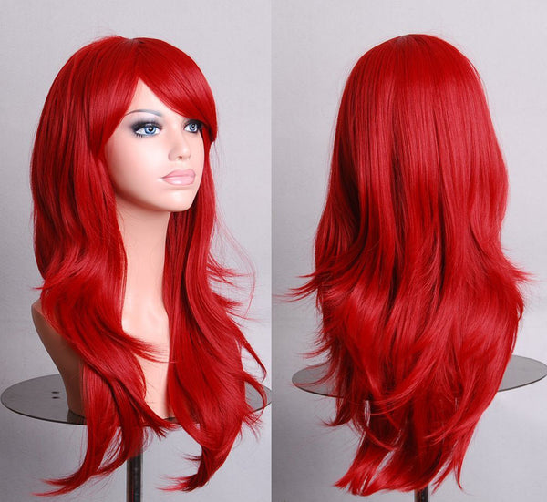 Harajuku Cosplay Wig Red High quality 70CM Curly Wave Hair Long Synthetic hair pad Perruque peluca  peruca femininas - Amariah's
