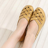 Hollow Out Breathable Women Sandals Summer Female Fashion Leather Nurses Working Gladiator Flats Shoes Yellow Red Black White - Amariah's