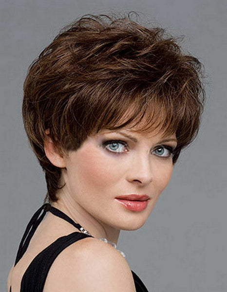 Hot Sale Heat Resistant Synthetic Brown Short Hair wigs For Black Women Wavy Haircuts Perucas Feminina - Amariah's