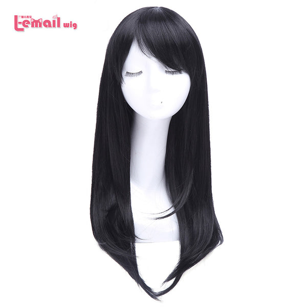 L-email wig 26 inch Long Black Cosplay Wigs Straight With Side Bang Anime Wigs Synthetic Hair For Sweet Girls - Amariah's