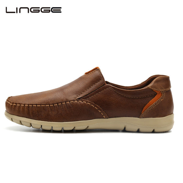 LINGGE New 2017 Shoes Men Casual Loafers Genuine Leather Light Up Shoes Male Moccasins Smart Shoes - Amariah's