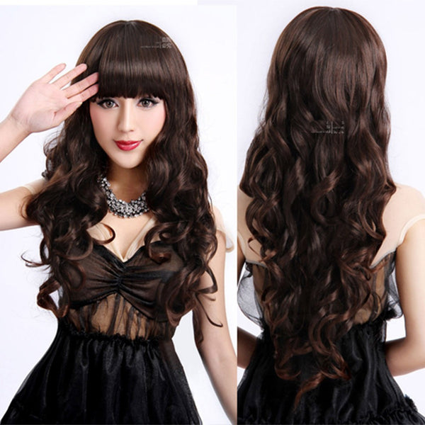 Ladies Long Curly Wavy Heat Resistant Cosplay Wig Women Natural As Real Hair Black Synthetic Wigs With Bangs Perucas Pelucas - Amariah's