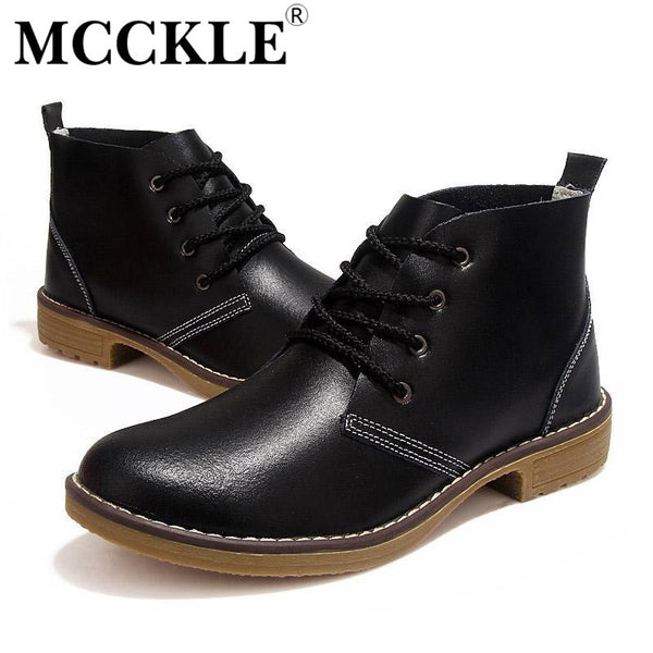 MCCKLE Woman fashion  Motorcycle Ankle Boots Genuine Leather lace up vogue Casual Shoes For Woman Vintage High Top J4359 - Amariah's