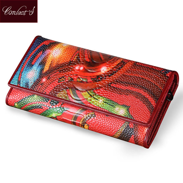 New Fashion Leather Women Wallet Vintage Flower Printed Ostrich Red Wallets Ladies' Long Clutches With Coin Purse Card Holder