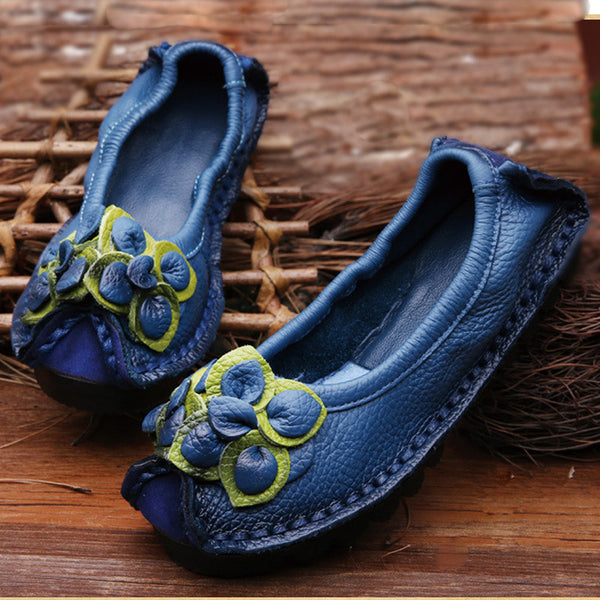 Original Handmade Autumn Women Genuine Leather Shoes Cowhide Loafers Real Skin Shoes Folk Style Ladies Flat Shoes For Mom sapato - Amariah's