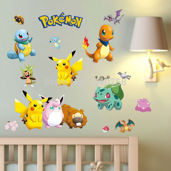Pokemon Wall Stickers for Kids Rooms Home Decorations Pikachu Wall Decal Amination Poster Wall Art Wallpaper Kids - Amariah's