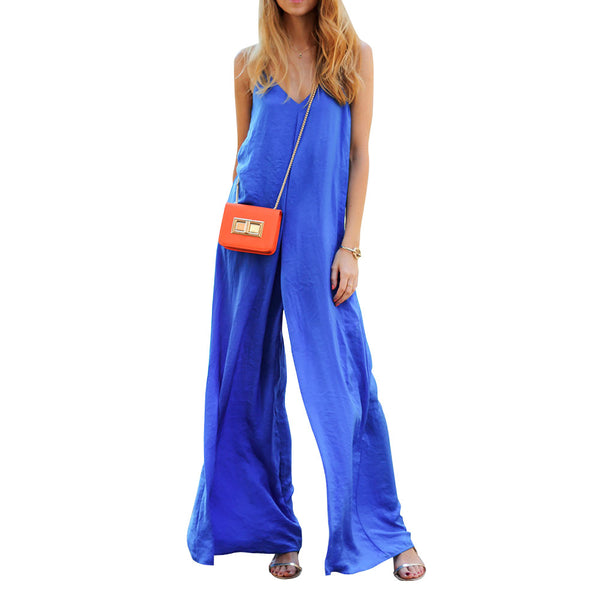 Preself Women Sleeveless Wide Leg Jumpsuit Loose Sexy V Neck Long Playsuit Celeb Fashion Summer Casual Plus Size No package - Amariah's