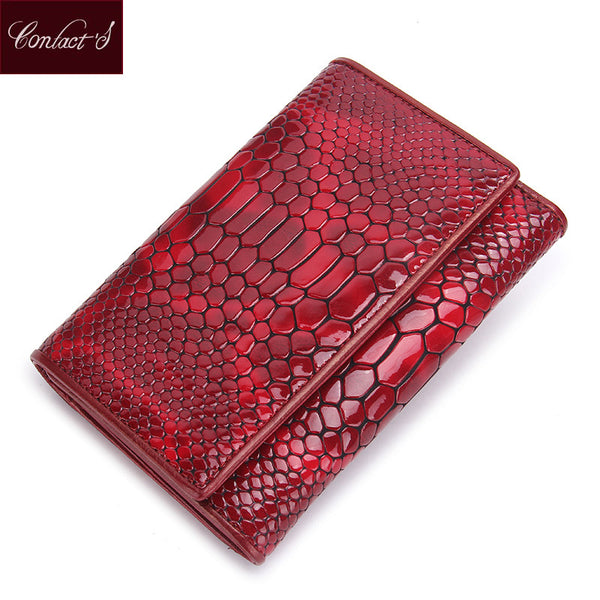 Standard Wallets 2017 Brand Design Leather Women Wallets Serpentine Purses With Card Holder Lady Fashion Trifold Wallet