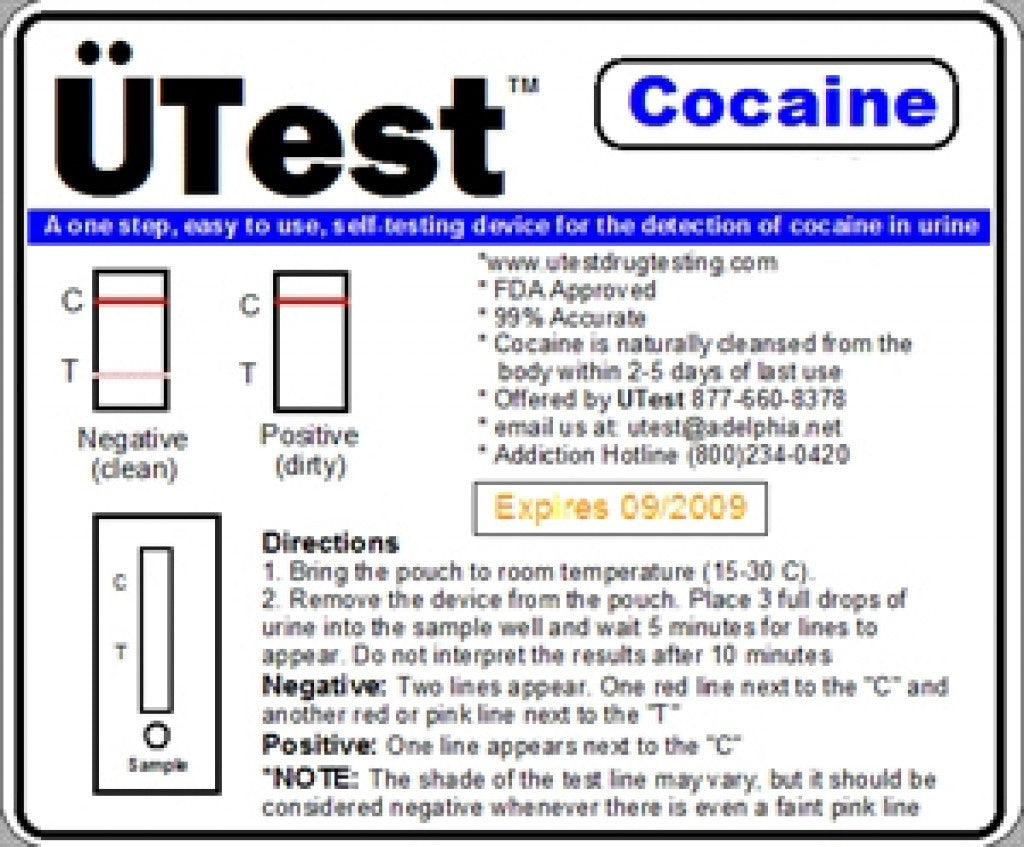 UTest Cocaine 300 ng/mL Single Panel Dip Test