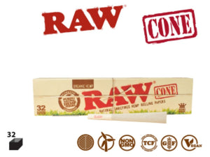 RAW Organic Cones King size 32 Pack