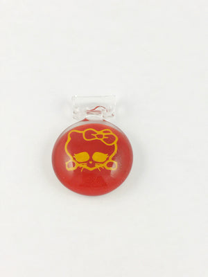 Local Glass Pendant Red Kitty w/Bow
