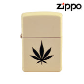 Cream Matte Zippo Lighter with Weed Leaf