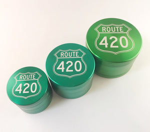 green grinders in all different sizes.