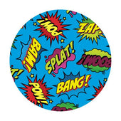 Blue circular dab mat with comic style words Bam, Splat, Zap..