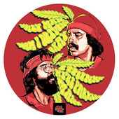 Red circular dab mat with classic pictures of Cheech and Chong