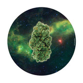 Marijuana Nug floating around in space.  Circular dab mat