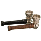 Two little pipes, sitting side by side.  Metal bowls with a wooden stem.  One black one brown.