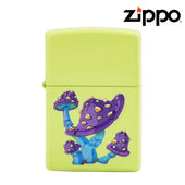 Neon Yellow Zippo Lighter with Textured Mushrooms