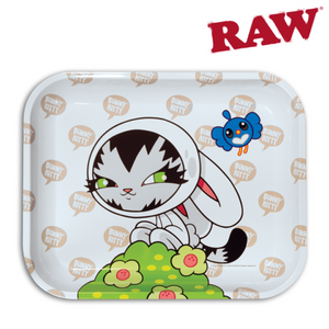 Rolling tray with image of a Cat dressed up in a bunny costume.  Art work by Persue