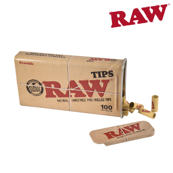 Raw Tips In A Tin 100 Pack Pre Rolled Unbleached Bc