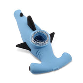 LIT Silicone Blue Hammerhead Shark Hand Pipe with Glass Bowl