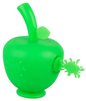 Little green apple shaped silicone bubbler with No Goo Splash