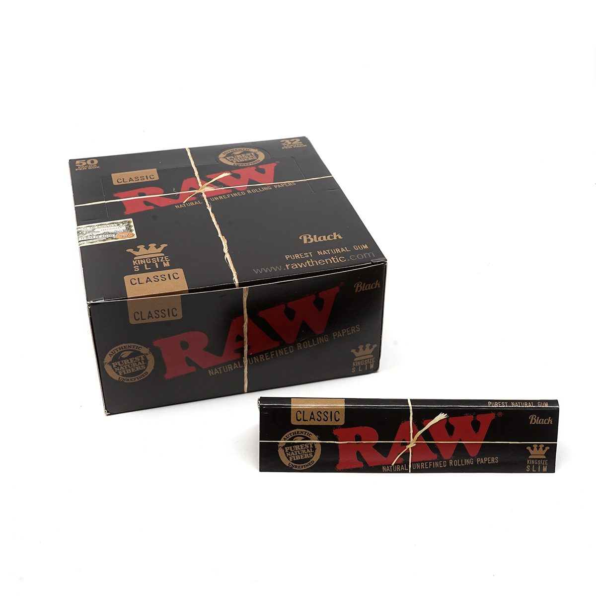 RAW Black Classic King Size Slim 10 PACKS Rolling Papers Ultra Thin Pressed
