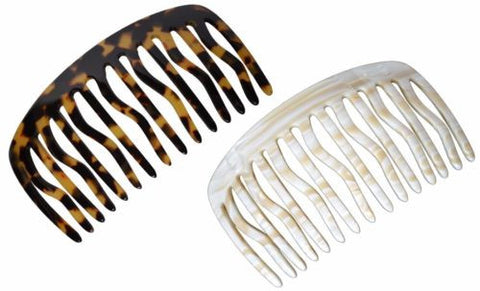 French Amie Handmade Large Tokyo and Ivory Celluloid 15 Teeth Side Hair Comb-French Amie-ebuyfashion.com