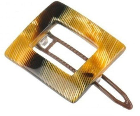 French Amie Small Caramel Square Celluloid Handmade Hair Clip Barrette For Girls-French Amie-ebuyfashion.com