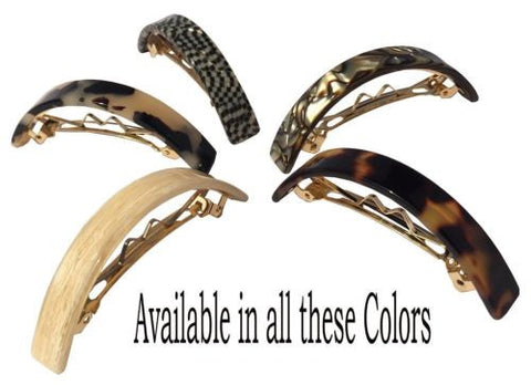 French Amie Curved Small Celluloid Handmade Automatic Hair Clip Hair Barrettes-FRENCH AMIE-ebuyfashion.com