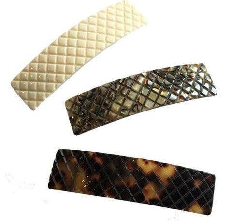 French Amie Beau Criss Cross Handmade Hair Clip Automatic Barrette Silver Clasp-French Amie-ebuyfashion.com