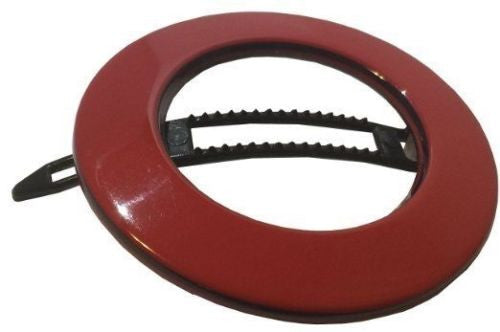 French Amie Magic Circle Tokyo Red Round Handmade Side Slide Barrette Snap Pin-FRENCH AMIE-ebuyfashion.com
