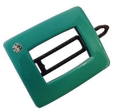 French Amie Teal Rectangular Celluloid Handmade Hair Clip Barrette For Girls-French Amie-ebuyfashion.com