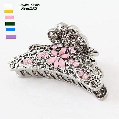 Moeni 2.5 Inches Crystal Rhinestone Silver Metal Claw Jaw Hair Clip Clutcher-MOENI-ebuyfashion.com