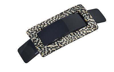 French Amie Rectangular Medium Acetate Handmade Opera Buckle Hair Clip Barrette-French Amie-ebuyfashion.com