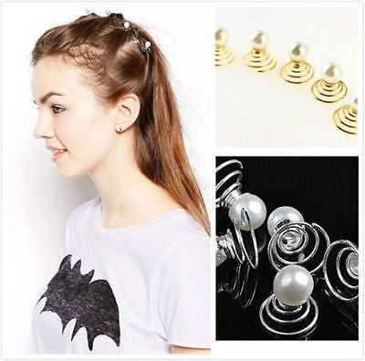 Gold & Silver Pearl Spiral Swirl Twist Stack Head Hair Pin Clip Dress Top 10Pcs-Moeni-ebuyfashion.com