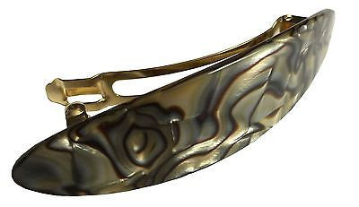 French Amie Medium Classic Slim Oval Celluloid Handmade Onyx Hair Clip Barrette-FRENCH AMIE-ebuyfashion.com