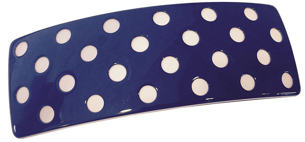 French Amie Medium Blue White Polka Dots Wide Handmade Hair Clip Barrette-French Amie-ebuyfashion.com