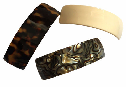 French Amie Handmade Curved Medium Automatic Strong Grip Hair Clip Barrette-French Amie-ebuyfashion.com