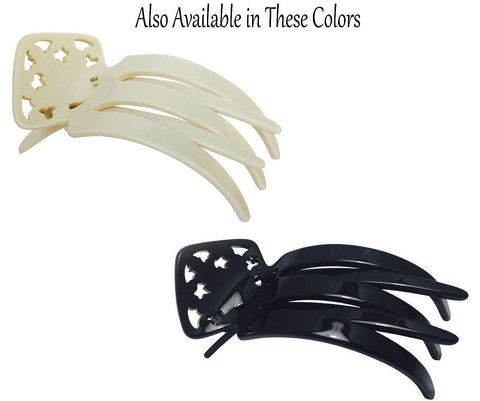 French Amie Medium Handmade Ivory N Black Side Salon Hinge Jaw Claw Hair Clip-FRENCH AMIE-ebuyfashion.com