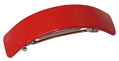"French Amie Curved Fuschia Red Large 3 ¾"" Handmade Celluloid Hair Clip Barrette"