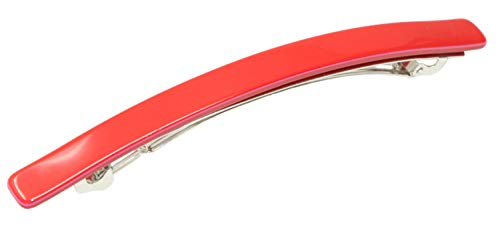 "French Amie Long And Thin Fuschia Red Large 4"" Handmade Hair Clip Barrette"