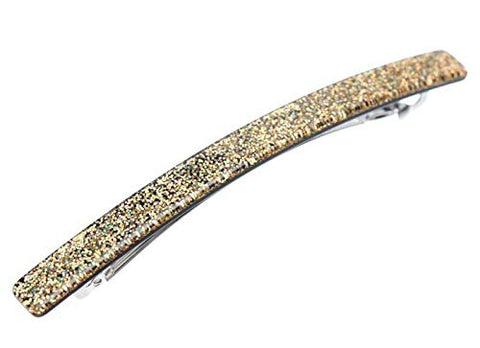 "French Amie Glittery Long and Skinny Golden Large 4 1/4"" Handmade Celluloid Automatic Hair Clip Barrette for Women and Girls"