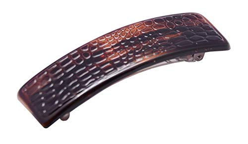 Parcelona French Croco Black Tortoise Shell Wide Strong Grip Clip Hair Barrette