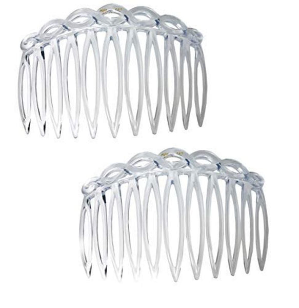 Parcelona French 2 Pieces Medium Open Curved Clear Celluloid Side Hair Combs