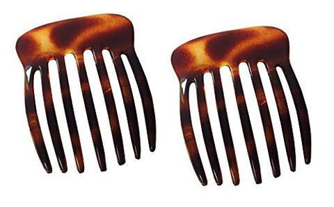 Parcelona French Seven Teeth Large 2 Pieces Celluloid Tortoise Shell Hair Comb-ebuyfashion.com-ebuyfashion.com