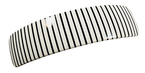 "French Amie Curved White Stripe Large 3 ¾"" Handmade Celluloid Hair Clip Barrette"